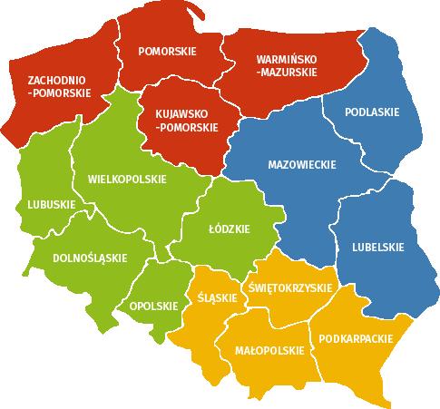 Mapa regionów Polski